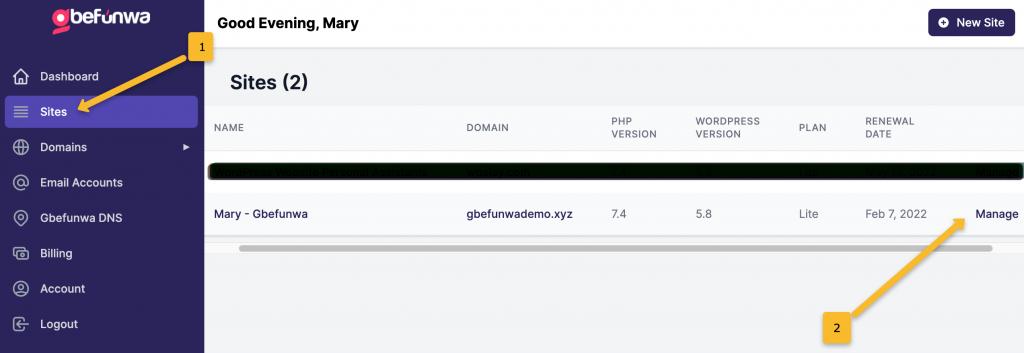 Switch WordPress Website PHP Version on Gbefunwa